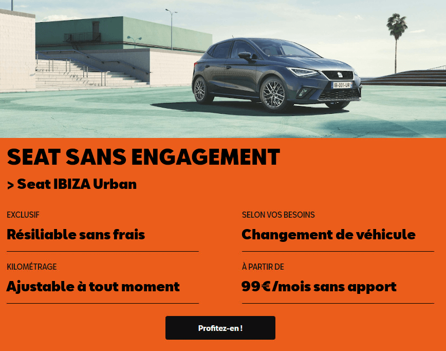 Offre Seat Sans Engagement - Ibiza Urban 99€/mois